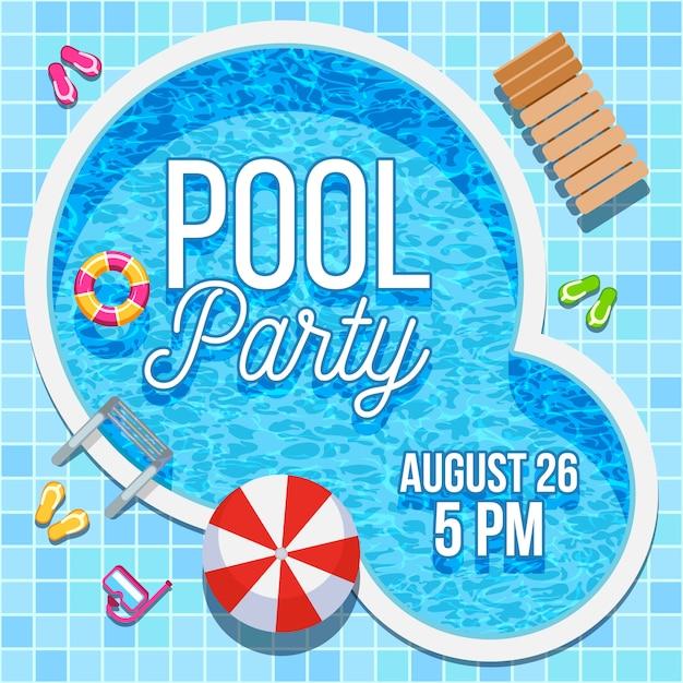 Zaproszenie na przyjęcie letnie z szablonu basenu Premium Wektorów