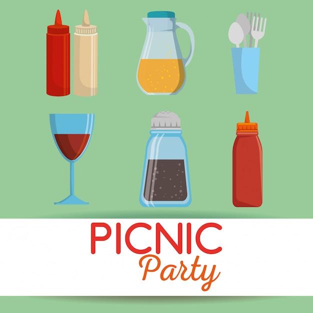Zaproszenie Na Przyjęcie Piknikowe Zestaw Ikon Darmowych Wektorów