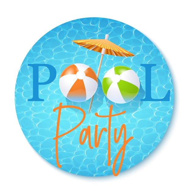 Zaproszenie na przyjęcie przy basenie Premium Wektorów