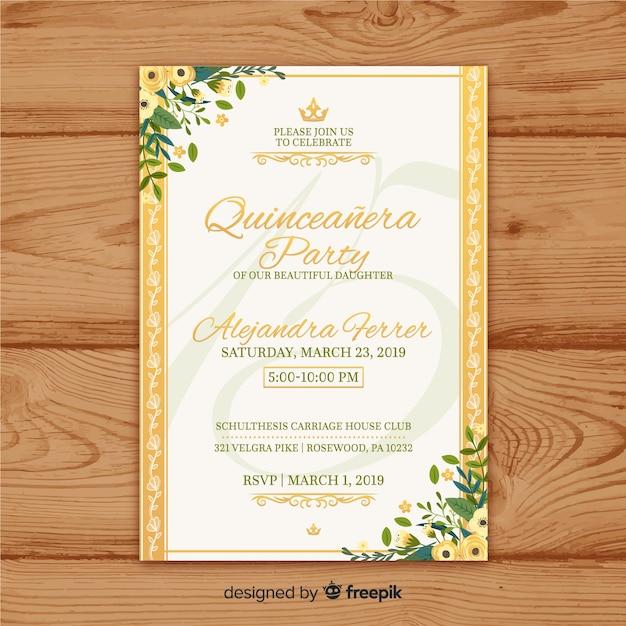 Zaproszenie na przyjęcie quinceañera Darmowych Wektorów