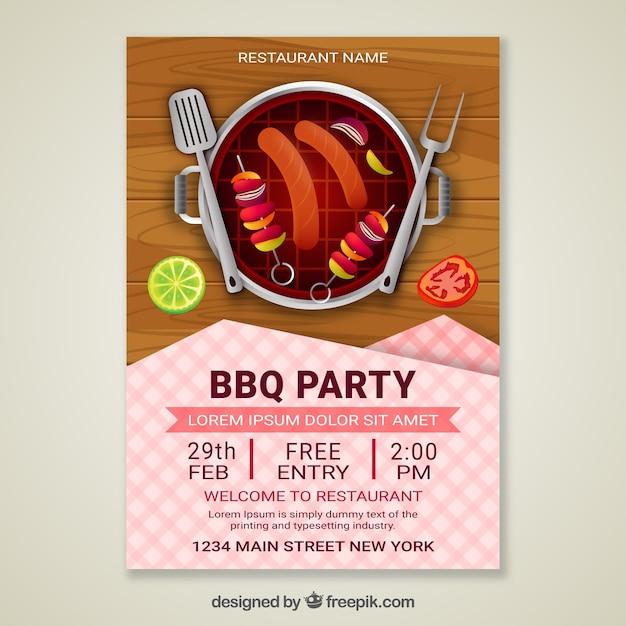 Zaproszenie na przyjęcie z grilla w realistycznym designie Darmowych Wektorów