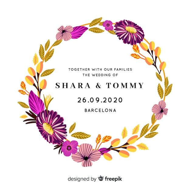 Zaproszenie na romantyczny ślub z ramą kwiatowy Darmowych Wektorów
