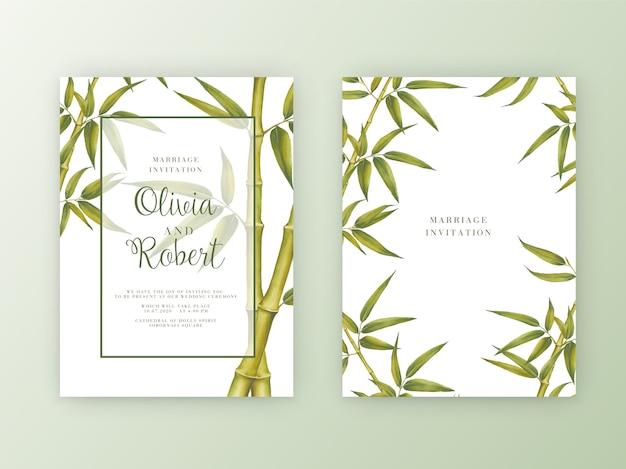 Zaproszenie na ślub. akwarela botaniczna ilustracja bambusa. Premium Wektorów