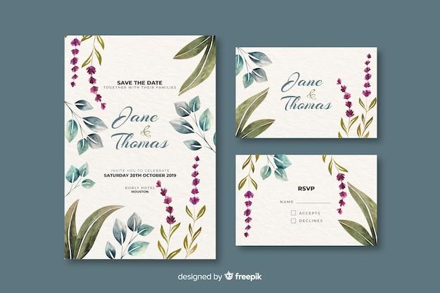Zaproszenie na ślub akwarela kwiatowy Darmowych Wektorów