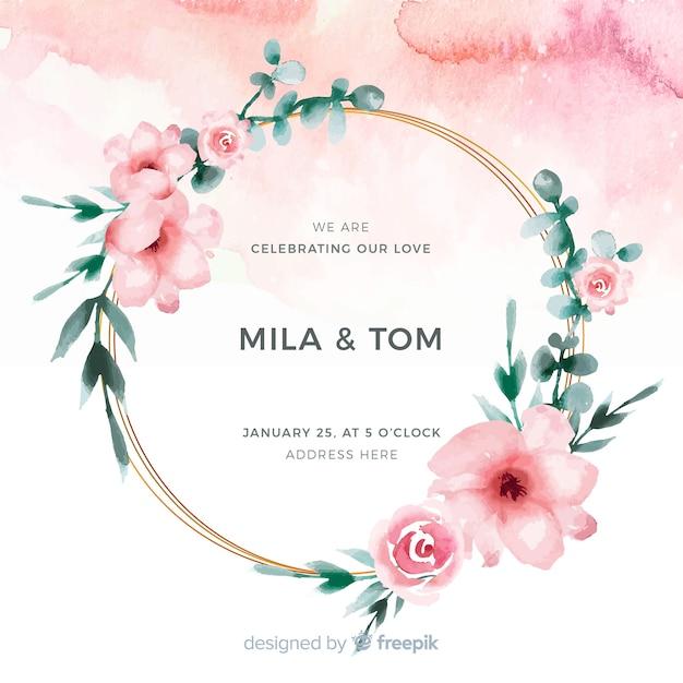 Zaproszenie na ślub akwarela ramki kwiatowy Darmowych Wektorów