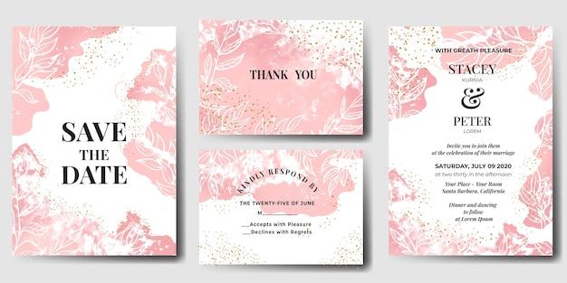 Zaproszenie Na ślub Akwarela Streszczenie Różowy Darmowych Wektorów