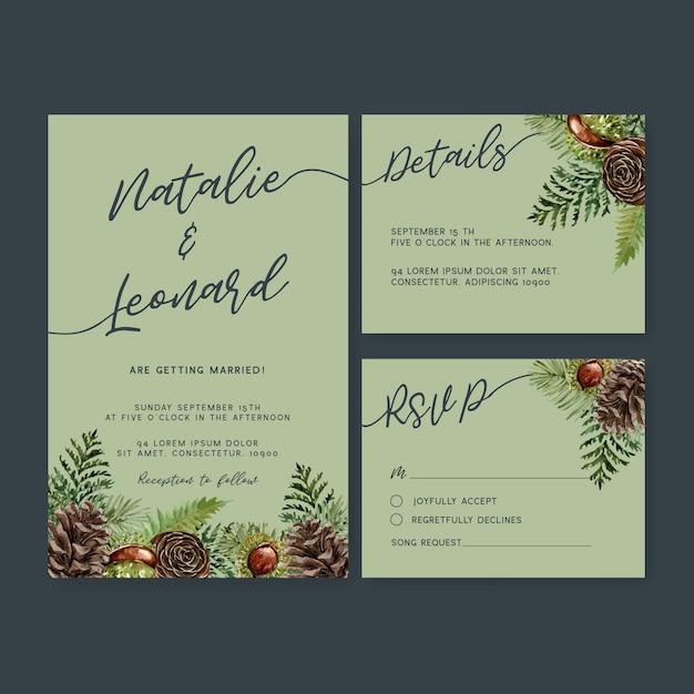 Zaproszenie na ślub akwarela z fajnym motywem jesiennym Darmowych Wektorów