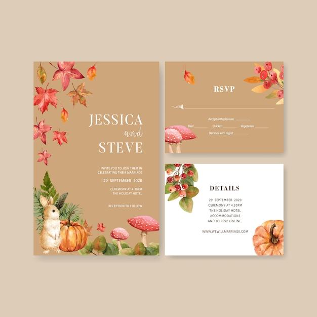 Zaproszenie na ślub akwarela z pięknym motywem jesieni Darmowych Wektorów