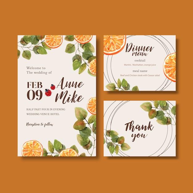 Zaproszenie na ślub akwarela z pięknymi jasnymi, pomarańczowymi tonami Darmowych Wektorów