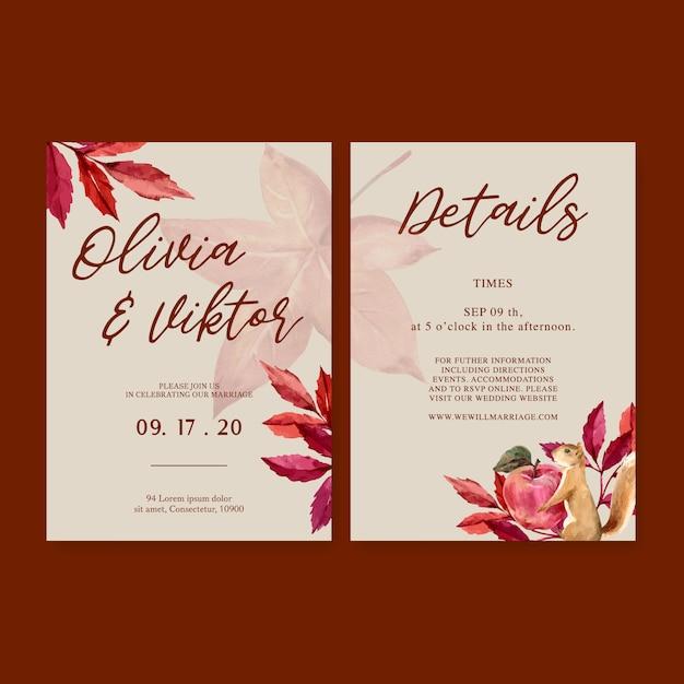 Zaproszenie na ślub akwarela z prostym motywem jesiennym Darmowych Wektorów