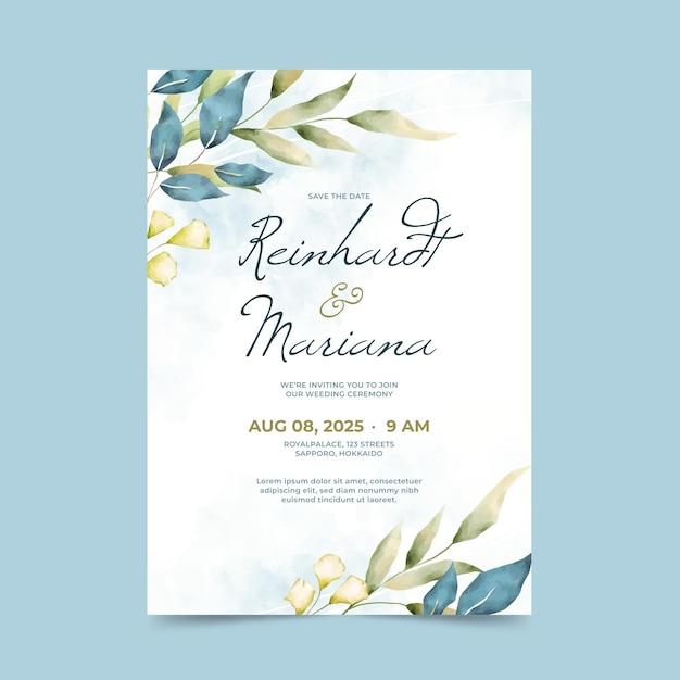 Zaproszenie Na ślub Akwarela Darmowych Wektorów