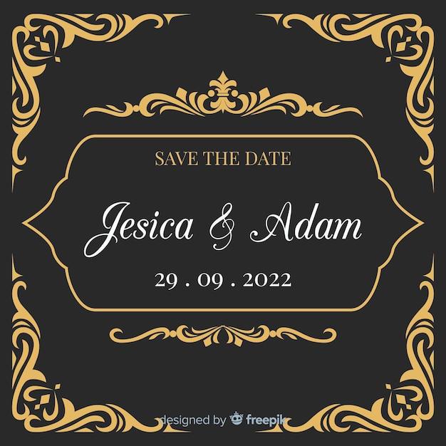 Zaproszenie na ślub czarny ze złotymi ornamentami Darmowych Wektorów