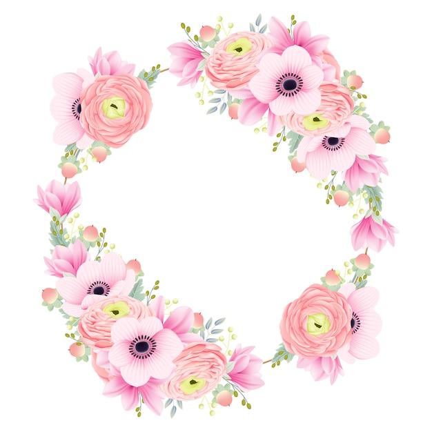 Zaproszenie na ślub jasunculus magnolia zawilec kwiaty Premium Wektorów