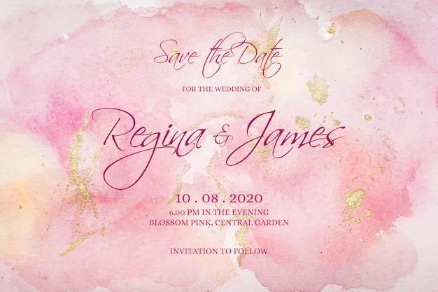 Zaproszenie Na ślub Kaligraficzne Z Plamami Akwarela Darmowych Wektorów