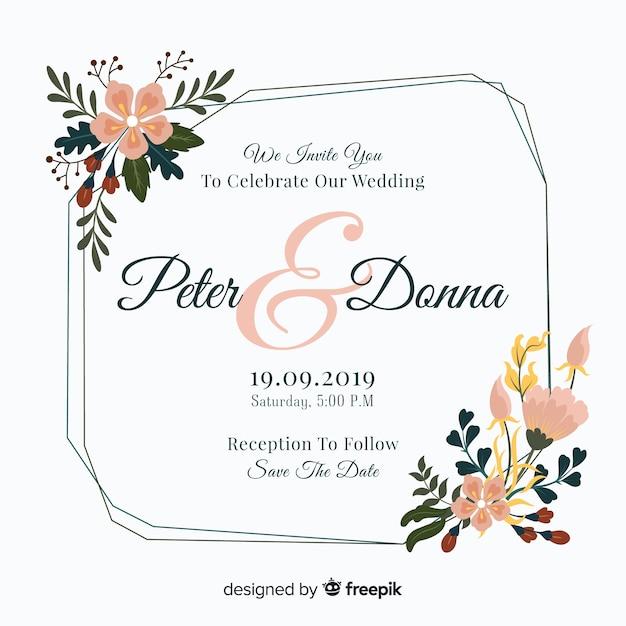 Zaproszenie na ślub kolorowe ramki kwiatowy Darmowych Wektorów