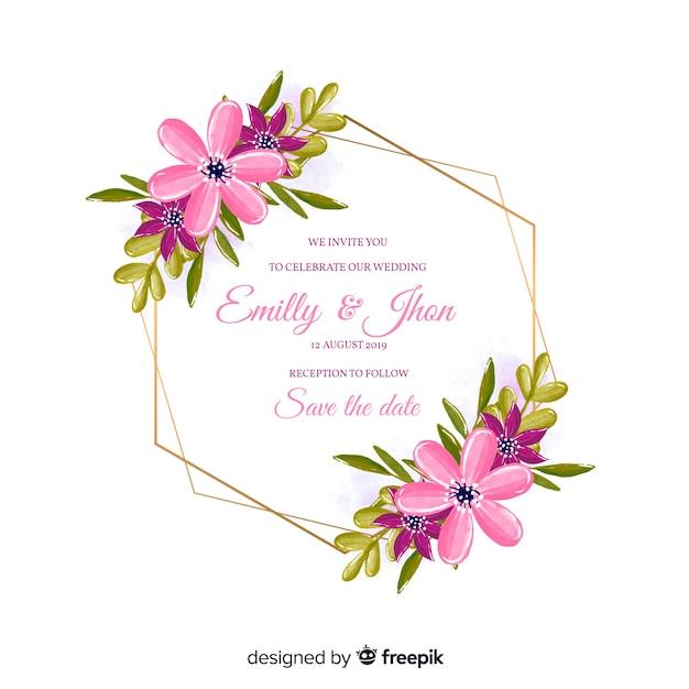 Zaproszenie na ślub kolorowy kwiatowy akwarela ramki Darmowych Wektorów