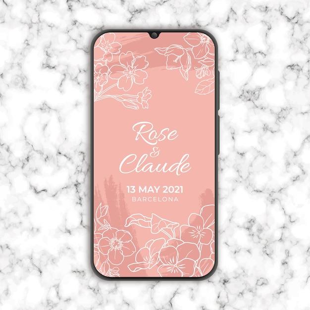 Zaproszenie Na ślub Kwiatowy W Smarthphone Darmowych Wektorów