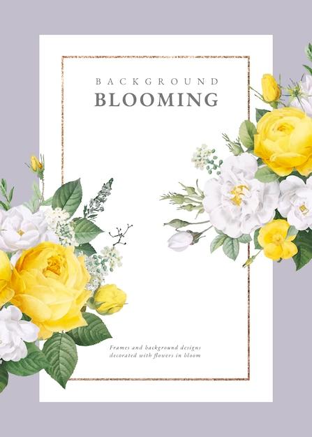 Zaproszenie na ślub kwiatowy wzór Darmowych Wektorów