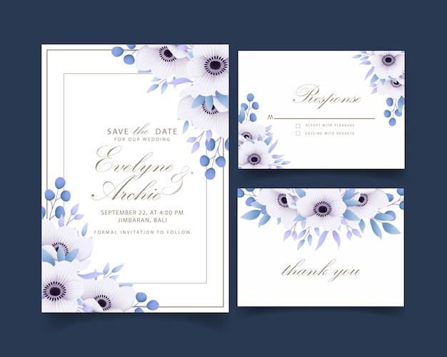 Zaproszenie na ślub kwiatowy z kwiatami anemonu Premium Wektorów