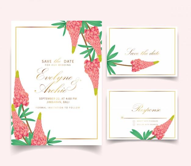 Zaproszenie na ślub kwiatowy z kwiatów łubinu Premium Wektorów