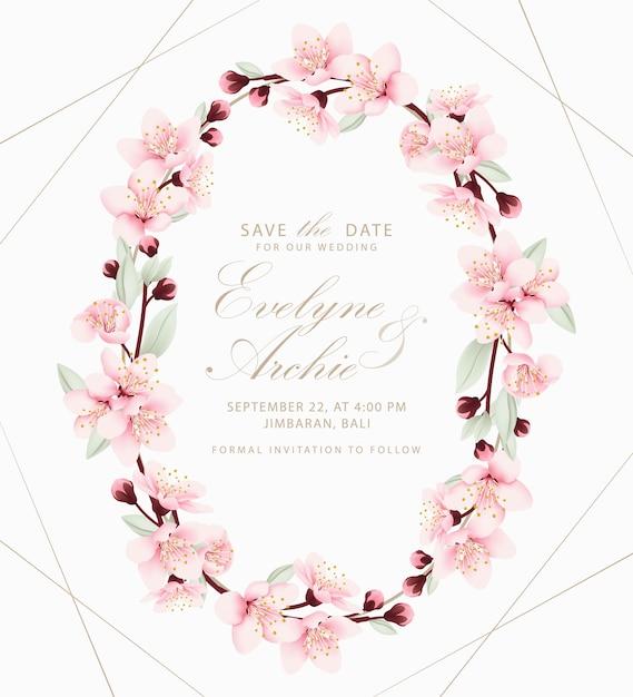 Zaproszenie na ślub kwiatowy z kwiatów wiśni Premium Wektorów