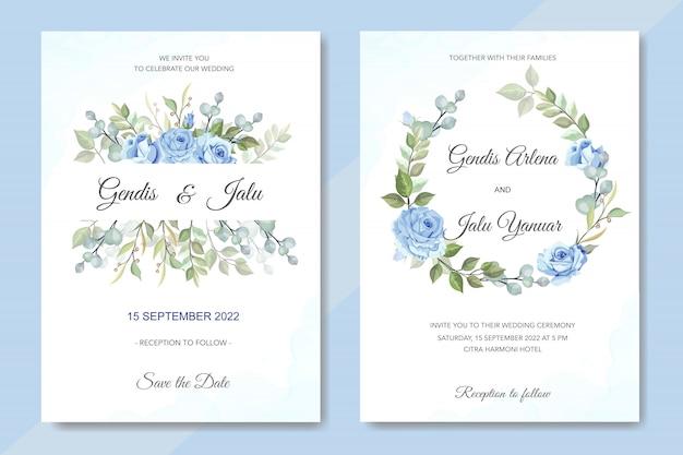 Zaproszenie na ślub kwiatowy z niebieskimi różami Premium Wektorów