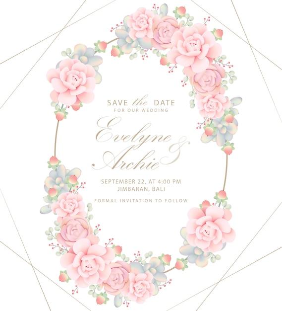 Zaproszenie na ślub kwiatowy z sukulentów Premium Wektorów