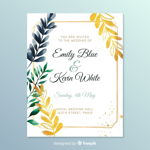 Zaproszenie na ślub ładny z liści Darmowych Wektorów