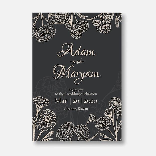 Zaproszenie Na ślub Minimalistyczny Styl Projektowania Karty Z Piękna Doodle Ręcznie Rysowane Goździk Kwiat Ornament Zarys Rocznika Premium Wektorów