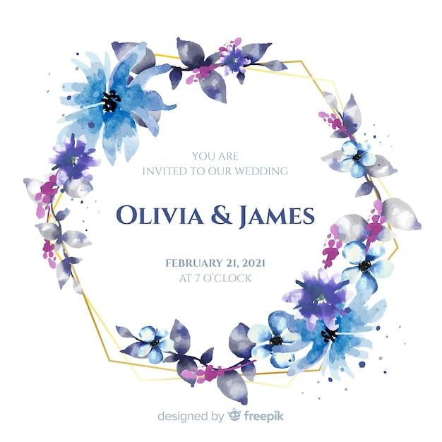 Zaproszenie na ślub niebieski akwarela kwiatowy ramki Darmowych Wektorów