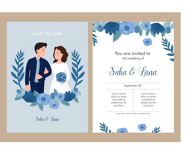 Zaproszenie Na ślub Niebieski Motyw Z Narzeczeni Premium Wektorów