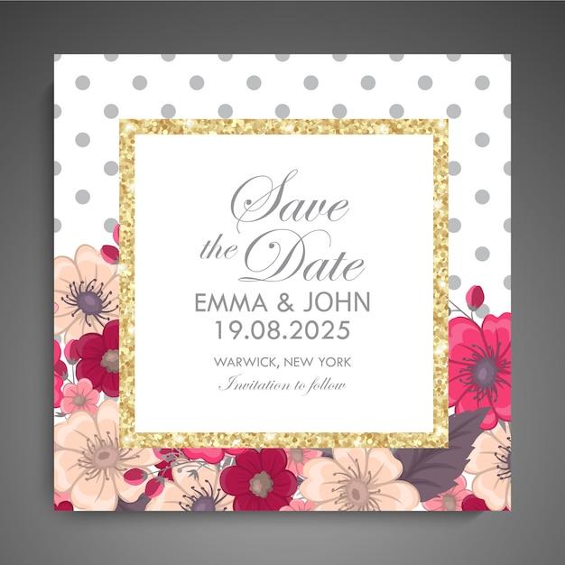 Zaproszenie na ślub. piękne kwiaty. kartka z życzeniami. rama. Premium Wektorów