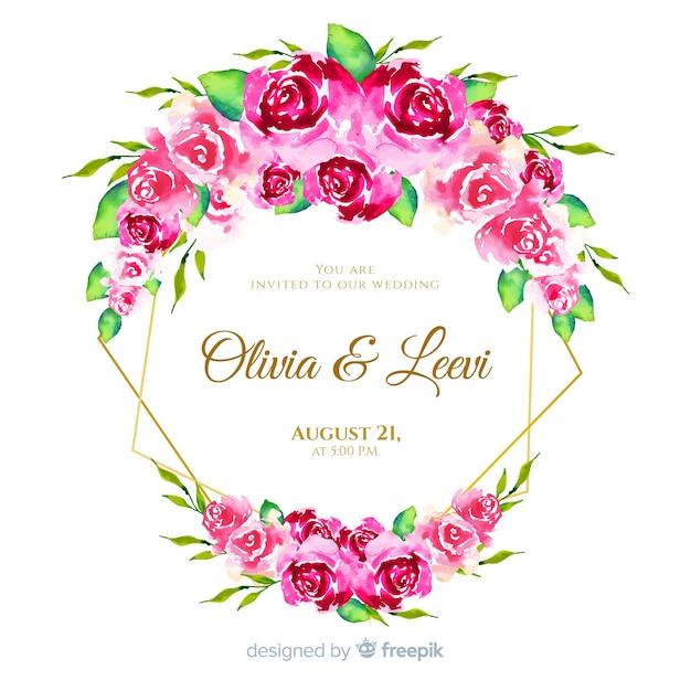 Zaproszenie na ślub piękny kwiatowy akwarela ramki Darmowych Wektorów