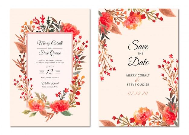 Zaproszenie na ślub piękny kwiatowy rama akwarela Premium Wektorów