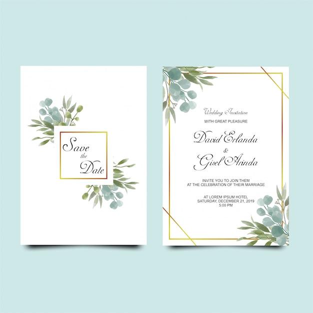 Zaproszenie na ślub pozostawia w stylu przypominającym akwarele Premium Wektorów