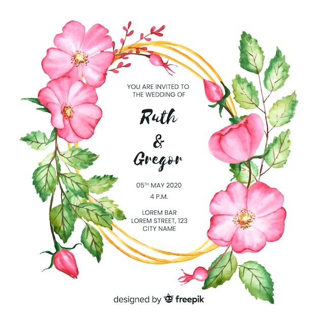 Zaproszenie na ślub rama kwiatowy Darmowych Wektorów