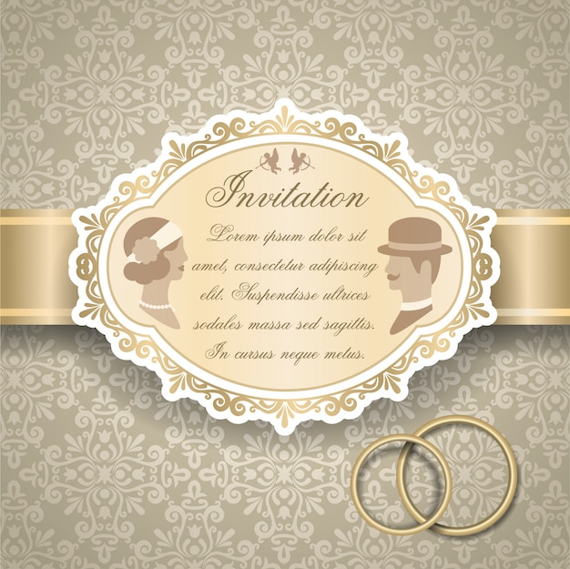 Zaproszenie Na ślub Retro Darmowych Wektorów