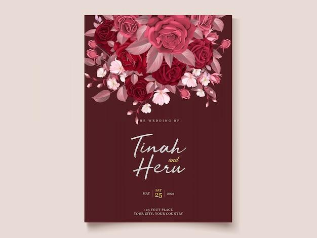 Zaproszenie Na ślub Romantyczny Kwiatowy Bordowy Darmowych Wektorów