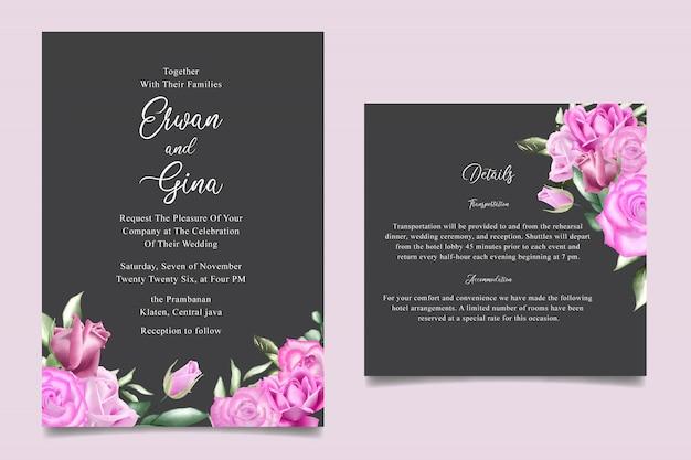 Zaproszenie na ślub szablon karty z akwarela kwiatów i liści Premium Wektorów