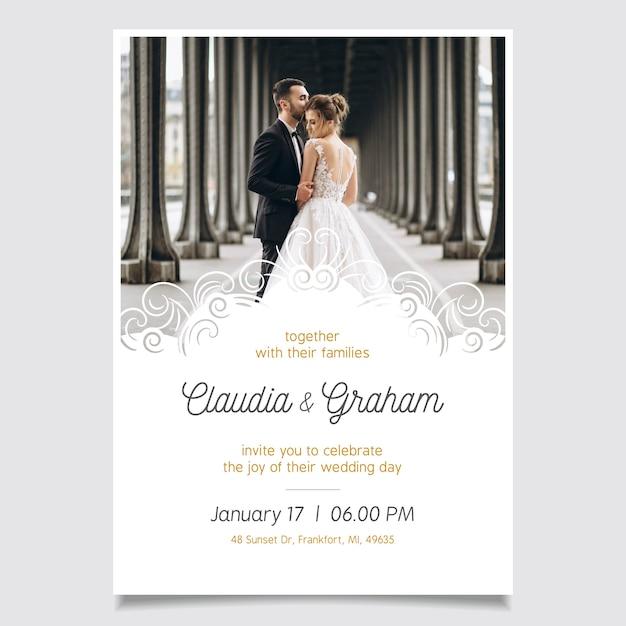 Zaproszenie na ślub szablon ze zdjęciem Darmowych Wektorów