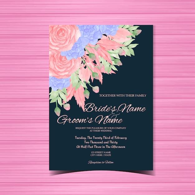Zaproszenie na ślub vintage z różowe i niebieskie kwiaty Premium Wektorów