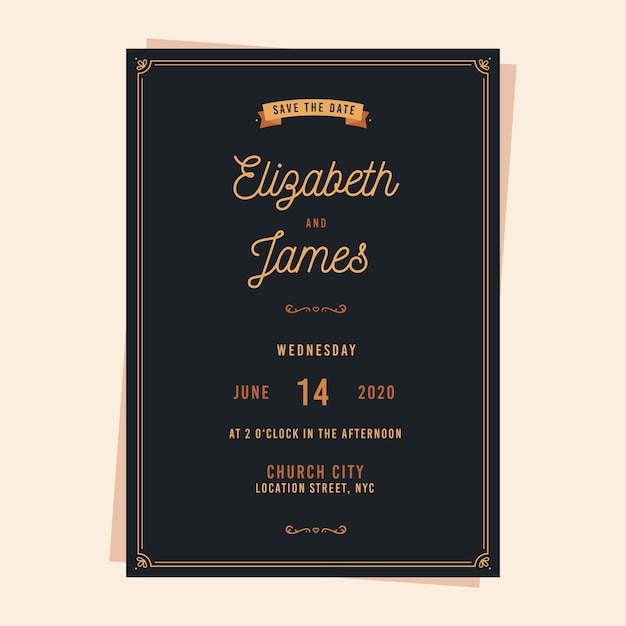 Zaproszenie na ślub w stylu vintage Darmowych Wektorów