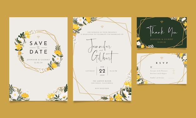 Zaproszenie na ślub w stylu vintage Premium Wektorów