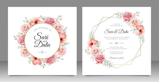 Zaproszenie Na ślub W Złotej Ramie Z Pięknym Kwiatowym Wzorem Premium Wektorów