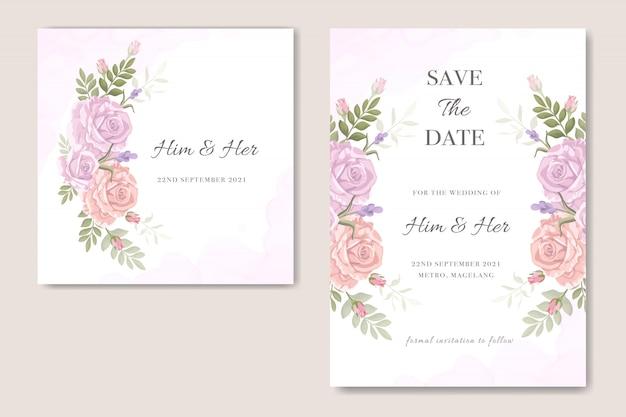 Zaproszenie na ślub wzór kwiatowy Premium Wektorów