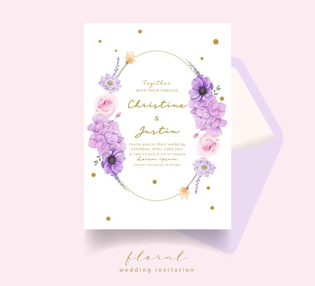 Zaproszenie Na ślub Z Akwarela Róże Darmowych Wektorów