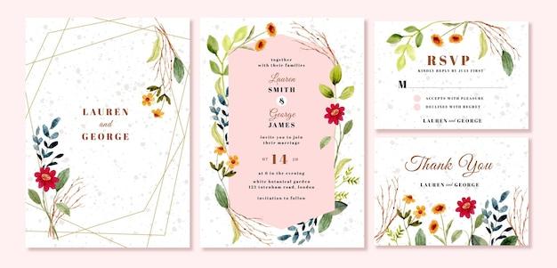 Zaproszenie Na ślub Z Akwarelą W Ogrodzie Kwiatowym Premium Wektorów
