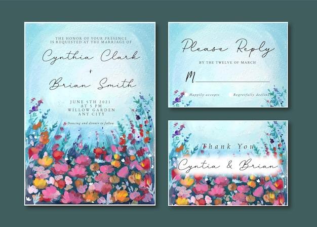 Zaproszenie Na ślub Z Akwarelowym Krajobrazem Niebieskich I Fioletowych Kwiatów Premium Wektorów
