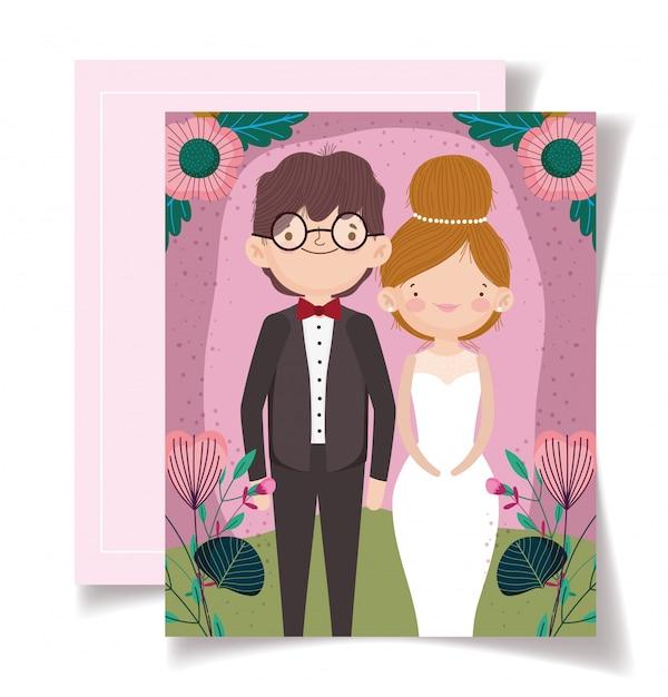 Zaproszenie Na ślub Z Kartą Para Portret Kwiat Premium Wektorów