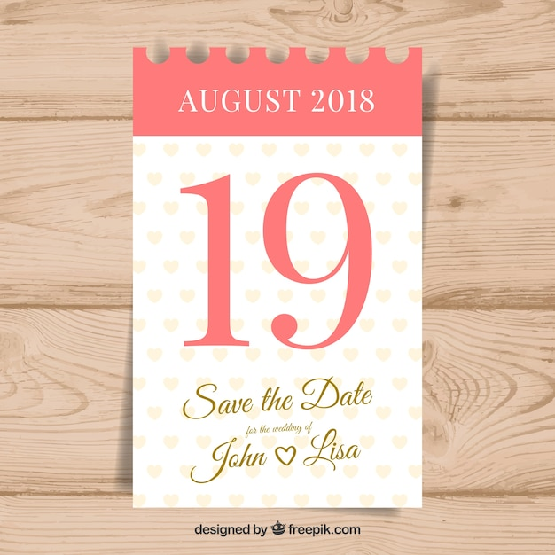 Zaproszenie na ślub z klasycznym kalendarzem Darmowych Wektorów